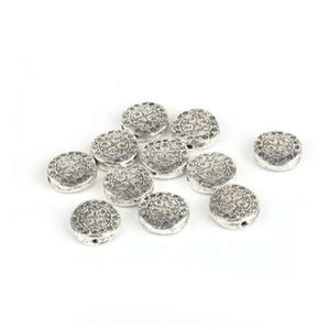 New Fashion 10 pz / lotto 4 * 12mm Lega Piatta Rotonda Perline Charms Argento Antico Placcato Perline Per DIY Collana Fare