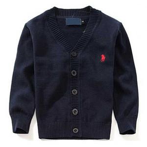 Lo más ropa de la marca de los nuevos niños 100% algodón del bebé del suéter de la alta calidad de los niños prendas de vestir exteriores del suéter de la muchacha del muchacho del suéter con cuello en V suéteres del polo