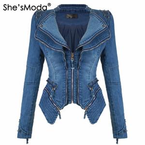 Ela é a Moda Denim Jeans Acolchoado Ombro Casaco para As Mulheres Slim Fit Zíper Casaco de Inverno Moto Jaqueta De Couro Motociclista Preto
