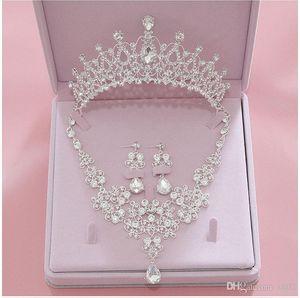 Brautschmuck 2019 Silber Kristall Brautschmuck Sets Halskette Ohrringe Krone Hochzeit Schmuck Accessoires Weihnachtsgeschenk