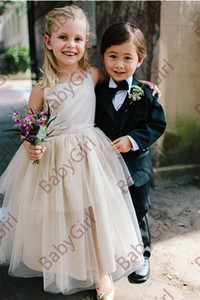 Simple and cheap spaghetti ball gown tulle and satin beautiful junior bridesmaid dress with knee length