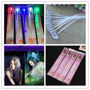 DHL Luminous Light Up LED Hair Extension Flash Braid Party girl Hair Glow by fiber optic For Party Christmas Halloween Decoration