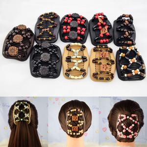 Moda caliente Color mezclado mujeres Bowknot estilo plástico grano elástico Magic Hair Combs Slide Metal Clip Barrettes accesorios para el cabello regalo