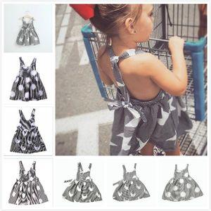 2018 Summer INS Hot New Star Lune Soleil Nuage Gris Rayures Dos Nu Grand Bow Band Jumper Dress Filles Gilet Bow Dress Enfant Vêtements