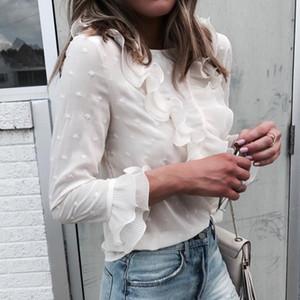Missufe Verão Outono Chiffon Blusa Camisas Mulheres 2018 Casual Em Camadas Ruffles Manga Tops Streetwear Branco Blusas Tops Feminino