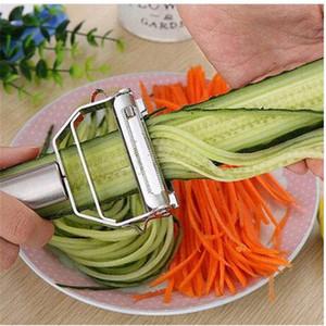 الشحن مجانا الفولاذ المقاوم للصدأ الخضروات مقشرة الملفوف واسعة الفم المباشر المطبخ سلطة أدوات سكين البطاطس مقشرة