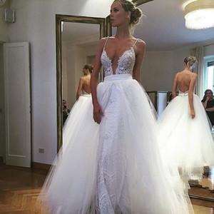 최신 디자인 Overskirts 레이스 웨딩 드레스 2018 스파게티 라인이없는 스윕 열차 보헤미안 해변 신부 가운 Vestidos de Novia