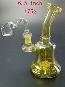 Gold Bong Vidro Dab Rig Bongs Tubulações de Água Pipes de Água Petrócitos Mini Perc Pipe Honeycomb Filtro Heady Beaker Beaker Beaker Cerâmica Prego Colorido