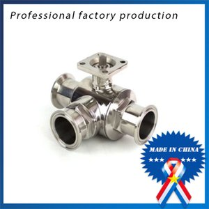 3 4 inch Sanitary Stainless Steel High Platform 3 Way Ball Valve Quick Connect Quick with Bracket