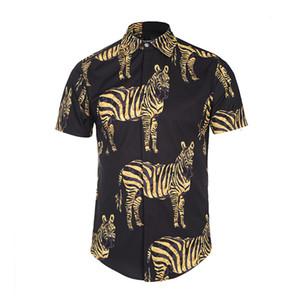 .2018 Nuevos Hombres Camisa de Impresión 3D Camisa de Solapa Fashion Street Juventud Verano Camisas Hombres Delgado Casual de manga corta tops camisa social hombre 022