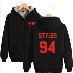 Uma Direção Harry Styles Harajuku Hoodies Camisola Das Mulheres Dos Homens de Inverno Grosso Quente Com Zíper Com Capuz Jaqueta Casaco Feminino Outwear 4XL