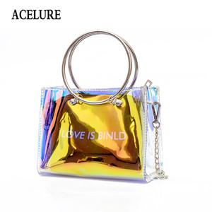 ACELURE Laser Chains sacos bolsa Bandoleira para as mulheres 2018 nova letra bolsa de ombro PVC transparente bolsas sacos de mulheres