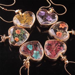 Güzel Kalp Shape Lampwork Cam Kolye Aromaterapi kolye Kolye Takı Kuru Çiçekler Parfüm Flakon Şişe Kolye Kolye