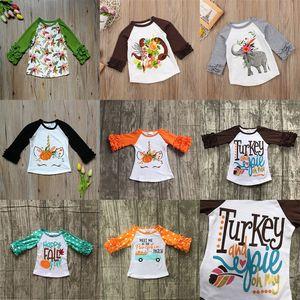 Thanksgiving Bébés filles garçon Fleurs imprimées Licorne T-shirts 2018 automne Ruffle Chemise à manches longues Tops coton enfants Tees enfants Vêtements C5033