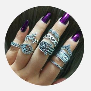 2018 Новая Мода Женщины Богемия Кольца Ретро Тотем Слон Palm Crown KNUCKLE RING 9 ШТ. В Один Набор