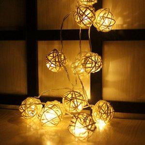 3Meter 20 등나무 공 Led 문자열 요정 조명 크리스마스 트리 장식품 크리스마스 장식 따뜻한 화이트 LED 조명 홈 정원 장식