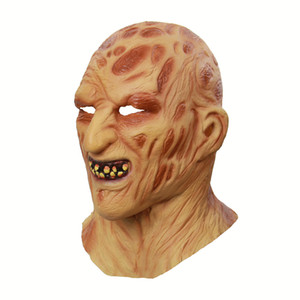 Latex Fire Burning Face Carrion Costume Accessories 50% Halloween Ghost Festival Headgear Terrorist Face Zombie Grimace Mask