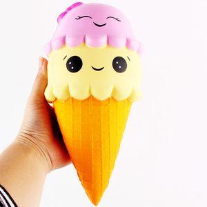 23cm Jumbo Squishy Ice Cream Cone Smile Squishies Toy Big Scent Slow Rising Food Free DHL
