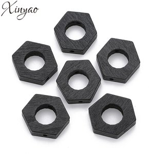 XINYAO 100pc Natural Wooden Beads Big Hole Black Wood Beads Hexagon Spacer Wood Beads For Diy Jewelry Making Houten Kralen F7512
