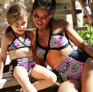 Frauen und Mädchen Bademode Bikini Beach Frauen Floral Badeanzug Beachwear Bade Fest Bikini Set für Mädchen und Mutter