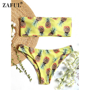 Atacado Sexy Maiô Strapless Abacaxi Impressão Bralette Bandeau Biquíni Set Trajes de Banho Fatos de Praia Swimwear para As Mulheres S / M / L