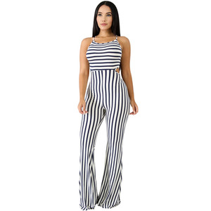 verano Sexy Backless Lace Up Striped Jumpsuit Correa sin mangas Flare Pants Bodycon Rompers Womens Jumpsuit Bodysuit Party Club