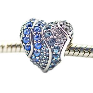 925 Sterling Silver beads Shiny Aqua Heart London Blue CZ Charm Fits pandora Bracelet DIY for Women Fashion Jewelry Accessories