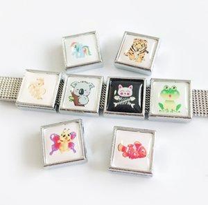 50 pcs 8 MM Animais de Plástico de Impressão de Plástico Praça Encantos Beads DIY Acessórios Fit 8mm Cintos de Colarinho Pulseiras