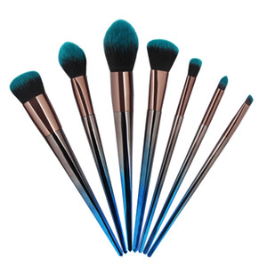 Professionelle 7Pcs Rhombus Diamant Make-up Pinsel Set Blue Gradient Make-up Pinsel kosmetische Gesichtsaugenschminke-Bürsten MAANGE5528