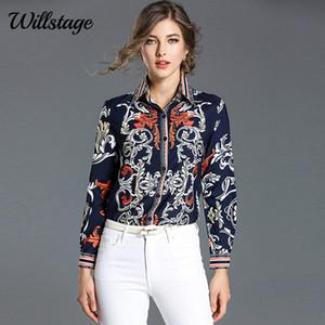 Floral Listrado Impresso Willstage Padrão Blusa Mulheres manga comprida camisas elegantes senhoras escritório desgaste Bancadas coloridas Primavera