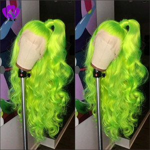 Larga parte libre natural de la onda del cuerpo parte peluca verde de Apple Alta densidad Glueless pelucas delanteras del cordón sintético para el partido de las mujeres maquillaje cosplay