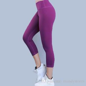 Eshtanga kapriler kadın spor kırpma en kaliteli Katı Yüksek Elastik Bel Kalın Malzeme Vücut Geliştirme Yoga skinny pantolon