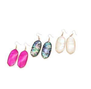 Freies Verschiffen neue süße geometrische weiße weiße heiße rosa Mischfarbe Muschel Eleganter Ohrring, süßes neues Design-Ohrring