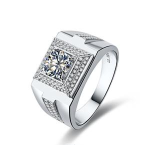 Flash Brilliant Gentleman Jewelry 1ct Anillo de diamante sintético para el hombre Compromiso de la boda Plata esterlina Anillos chapados en oro blanco