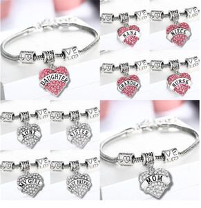 45 Типов алмазное любовное сердце браслет кристалл семьи члена мамы дочь бабушка верьте веру надежда лучший друг браслет для женщин до 472