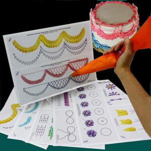 Atacado-23pc Bolo Prática Template Board Tubulação de Desenho DIY Pasta Ensino Decoração De Papel Fondant Decor Baking Supplies Fácil de aprender