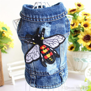 Retro Hole Embroidery Bee Princess Small Dog Pet Cat Denim Jeans Chaqueta de abrigo Cool Dog Puppy Vest Chaleco con capucha Chihuahua Pitbull Ropa para perros