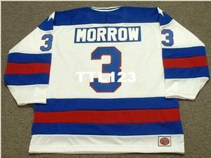 Men # 3 KEN MORROW 1980 USA Olympic Home Hockey Jersey o personalizzato qualsiasi nome o numero retro Jersey