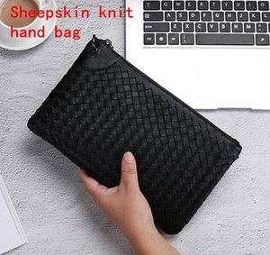 Marca de fábrica de los hombres bolsa de cuero de los hombres nuevos billetera moda de gran capacidad tejida a mano de negocios mano agarre bolso de cuero de piel de oveja bolso de mano de caballero