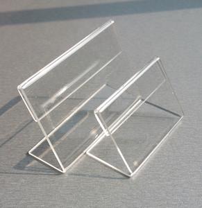 Étiquette de prix Étiquette d'affichage acrylique T1.3mm papier clair Table plastique Inscription Promotion carte Détenteurs Petit L Forme Supports 50pcs