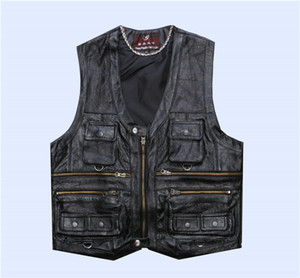 Bonjean uomo casual Gloument Genuine Pelle Gilet Maschio Slim Multi Pocket Reporter Gemp Leather Gilet Gilet Gilet XL-8XL