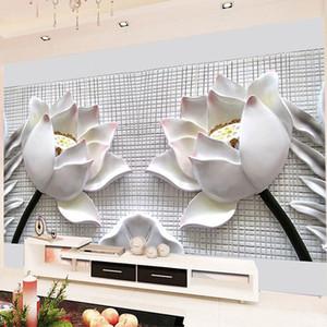 Özel Herhangi Boyut 3D Duvar Resimleri Duvar kağıdı Modern 3D Stereo Salon Koltuk TV Arka Plan İçin Tahliye Lotus Çiçeği Fotoğraf Duvar Kağıdı