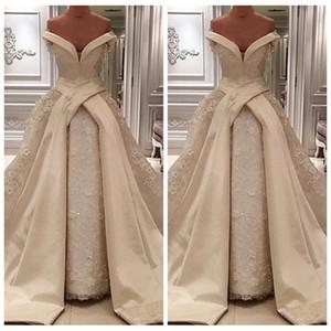 2021 Luxuriöse Spitzenapplikationen Ballkleid Brautkleider Sexy Lange Satin Chapel Zug schulterfrei Brautkleider Arabisch Vestidos de Novia