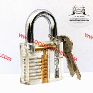 Lockmaster 7 pines Práctica de corte transparente Claro candado de acrílico transparente con llave maestra de locker para herramientas de práctica de selección de cerraduras