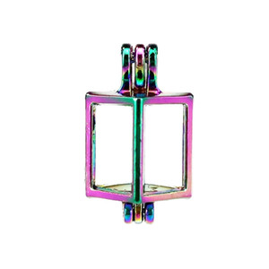 10pcs lot Rainbow Color Square Pearl Beads Cage Locket Pendant Diffuser Aromatherapy Perfume Essential Oils Diffuser Floating Pom