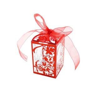 Caja transparente de azúcar Envoltorio de plástico dulce Regalo de bricolaje Moda romántica Baby Shower Corte por láser Cajas de dulces Suministros de fiesta para bodas 0 8sm ZZ