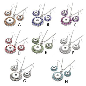 Noosa Crystal Snap Button Jewelry Set Mini 18mm Snap Button Necklace & 12mm Snap Earrings for Women Bohemia Gift