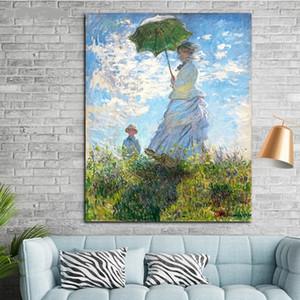 Bir Şemsiye ile Kadın - Madam Monet ve Oğlu Claude Monet Handpainted HD Baskı Empresyonist Portre Sanat yağlıboya Tuval Üzerine p348