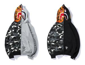 브랜드 가을 겨울 힙합 Streetwear 자 수 상어 Camo Spilce 카디 건 코 튼 까마귀 고품질 남성 자 켓 스웨터