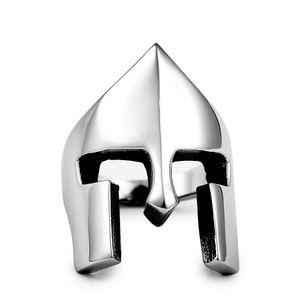 Retro Spartan Helmet Mask Anelli per uomo in acciaio inox New Fashion Punk Rock Style Party Ring Size 7-14 #